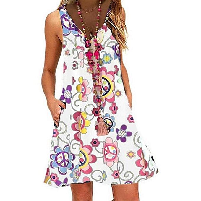 Fashion Womne Vintage Boho Summer Sleeveless Beach Printed Mini Dress à prix pas cher