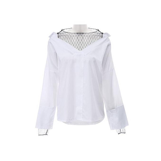 Generic HL Stylish Long Sleeve Mesh Spliced Stripe femmes Blouse (blanc)(S-L) à prix pas cher