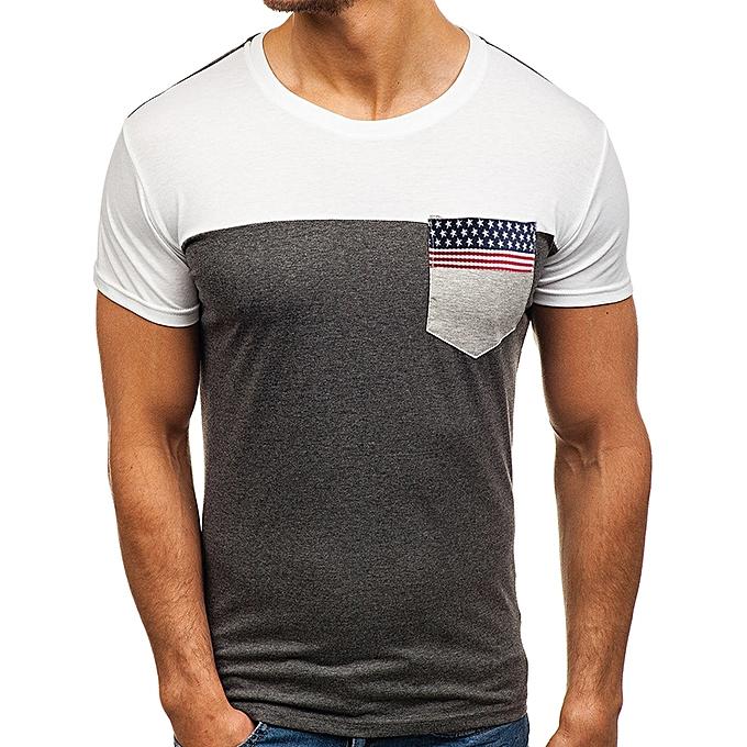 mode Pour des hommes été Pocket hauts O-neck manche courte Décontracté Slim Cotton T-shirts à prix pas cher