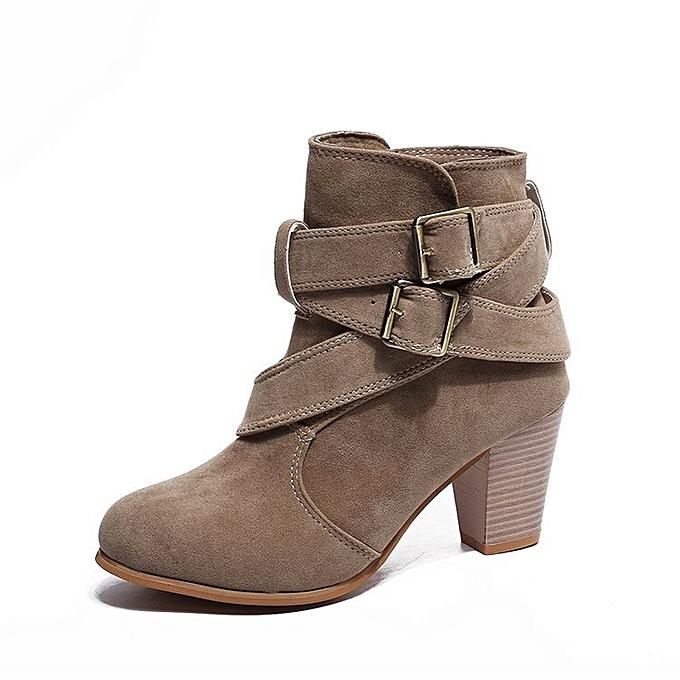 Autre Stylish 6.5cm Thick Heel  's Buckle Buckle 's Short Boots à prix pas cher    Jumia Maroc f5a206