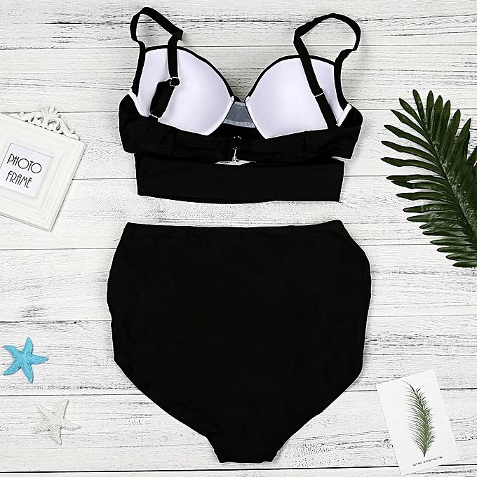 Fashion quanxinhshang femmes Bikini Set High Waist Solid Padded Swimwear Swimsuit Bathing Plus Taille à prix pas cher