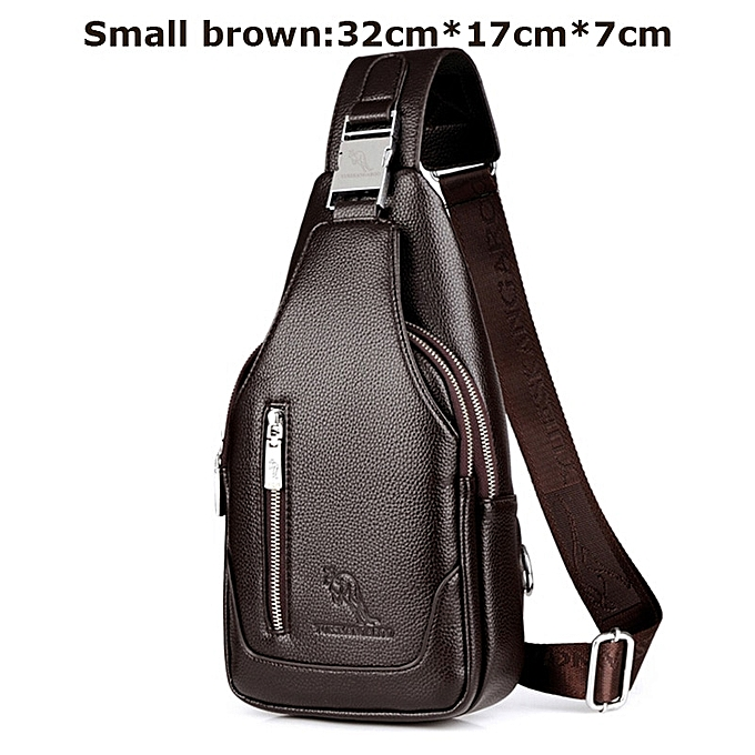 Other YUES KANGAROO Brand Men Chest Bag Single Messenger Bags Leather Travel Crossbody Casual Vintage Rucksack Chest Shoulder Bag(marron small) à prix pas cher