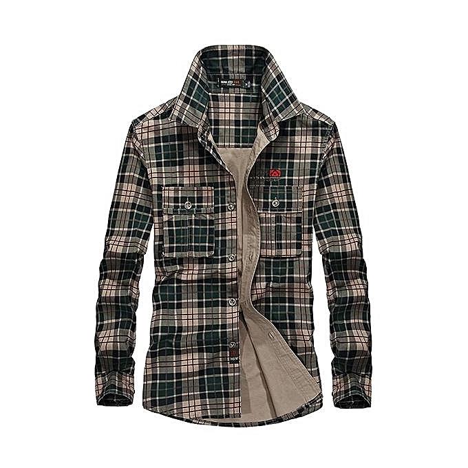 Fashion Mens Spring Autumn Plaid Printing Long Sleeve Cotton Outdoor Casual Shirt vert à prix pas cher