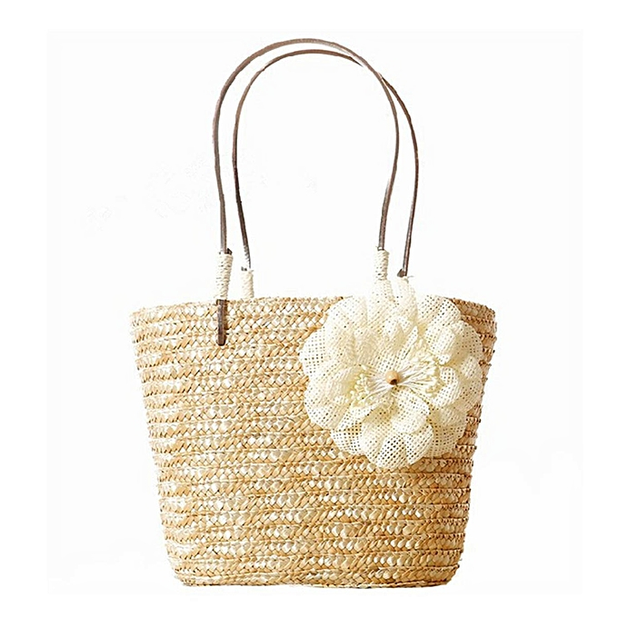UNIVERSAL Fashion femmes Beach Straw Bag Summer Flowers Style Vacation Bag Tote Handbag Hot Beige à prix pas cher