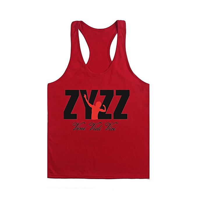 Other Men's Summer Sportswear BodybRuilding Fitness Cotton Printed I-shaped ZYZZ Vest-rouge&noir à prix pas cher