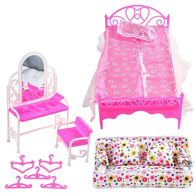 OEM The Old Tree Barbie Doll House Furniture Living Room rose Sofa Bed Robeing Table Hanger Set à prix pas cher