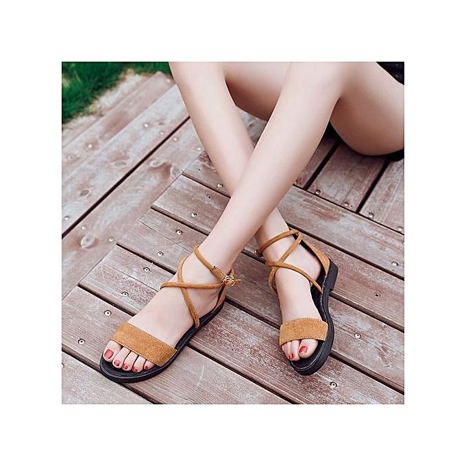 Fashion Xiuxingzi_femmes Flat Sandals Cross Straps Open Toe Buckle Low Heel Sandals Wedge Summer à prix pas cher