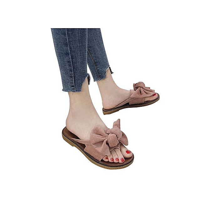 Fashion Hiamok femmes Fashion Solid Couleur Bow Tie Flat Heel Sandals Slipper Beach chaussures à prix pas cher    Jumia Maroc