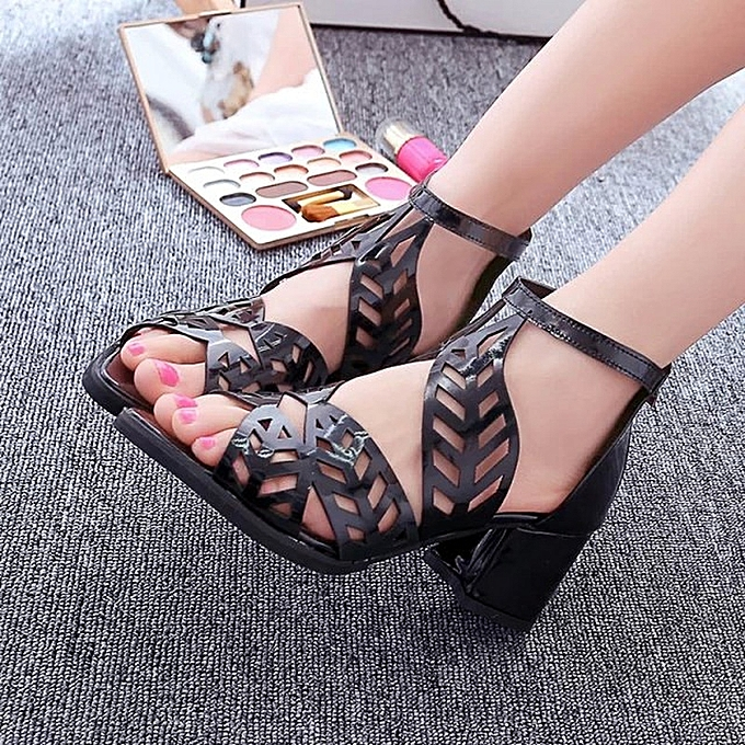 Other femme's Summer New Euro-America Fashion Leisure Hollow Fishmouth Sandals-noir à prix pas cher