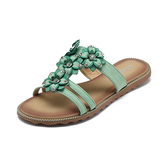 Fashion SOCOFY femmes Sandals chaussures Flower Slip On Beach Bohemian Flat Slippers à prix pas cher