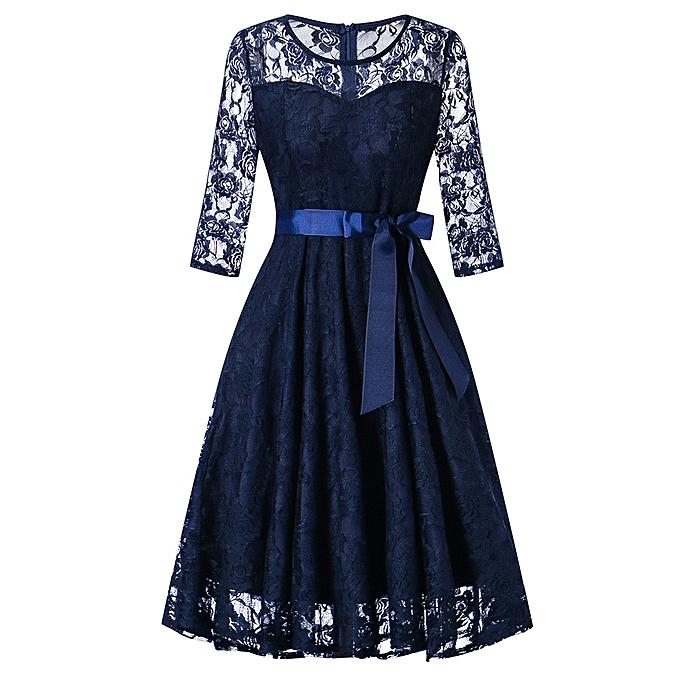 Generic Xiuxingzi femmes Long Sleeve Formal Ladies Wedding Bridesmaid Lace Long Dress BU XL à prix pas cher