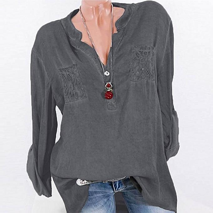 Zanzea ZANZEA mode hauts Lace Patchwork Buttons Shirt femmes manche longue Décontracté chemisier gris à prix pas cher