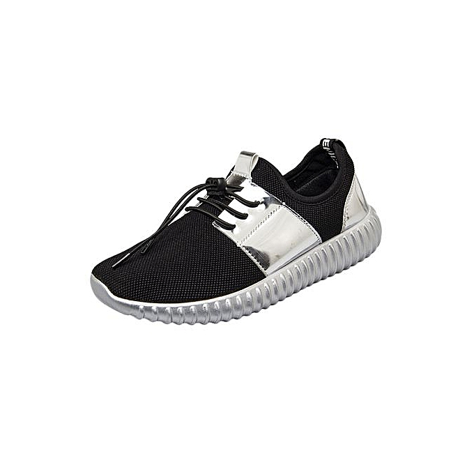 Fashion Patchwork Patent Leather Mesh chaussures Casual Beathable Lace-up Sport chaussures à prix pas cher