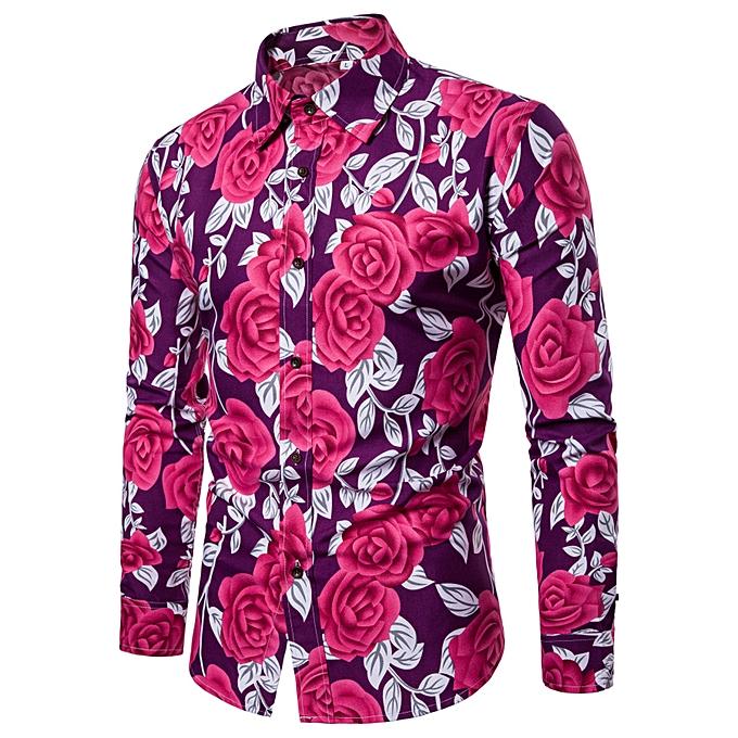 Fashion Man Fashion Flower Printed Blouse Casual Long Sleeve Slim Shirts Tops -violet à prix pas cher