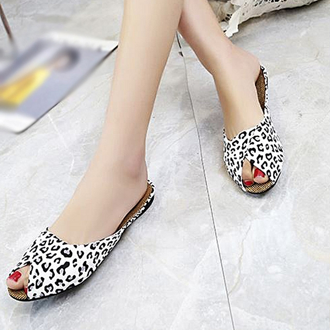 Fashion Xiuxingzi Wohommes Fashion Casual Fish Mouth  Low Heels Leopard Square Heel chaussures Sandals à prix pas cher    Jumia Maroc