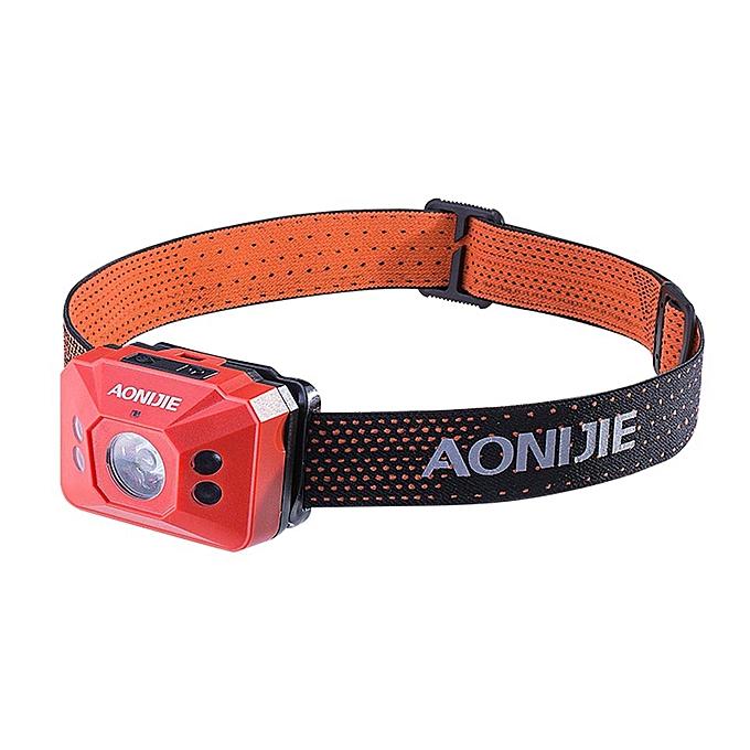 AONIJIE Outdoor Sports Waterproof Running Lights Headlight Night Running Flashlight Warning Lights Battery Headlamp(Orange) à prix pas cher