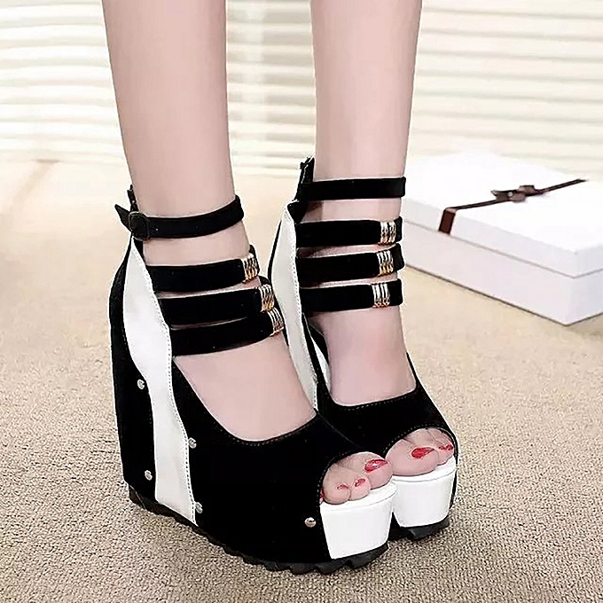 Fashion Blicool Shop WoHommes  Sandals WoHommes    Thick-Bottom Sloped Sandals Patchwork High-Heeled Wedges Platform Shoes-White à prix pas cher  | Jumia Maroc 18242e