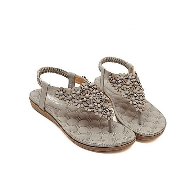 Fashion Xiuxingzi_Wohommes Fashion Sweet Beaded Clip Toe Flats Bohemian Herringbone Sandals à prix pas cher