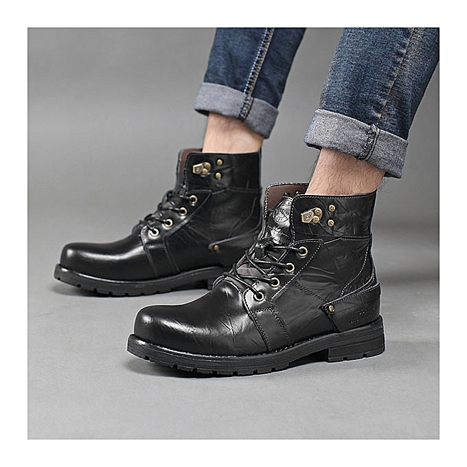 UNIVERSAL Fashion   Hight Top Waterproof Classic 8 Metal Metal 8 Eyelets Crazy Work Ankle Boots à prix pas cher  | Jumia Maroc 3d8af4