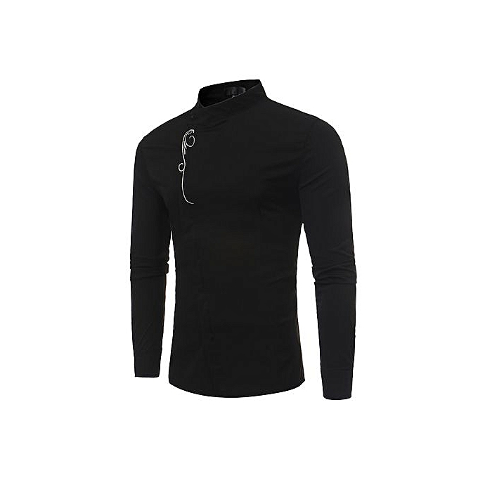AFankara Designer Solid Couleur Shirts For Male Robe Shirts-noir à prix pas cher