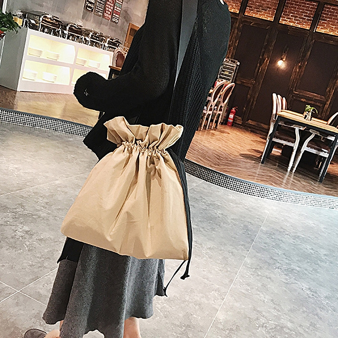 mode whiskyky store femmes mode Solid toile sac à doss Shopping voyage Drawstbague sac -marron à prix pas cher