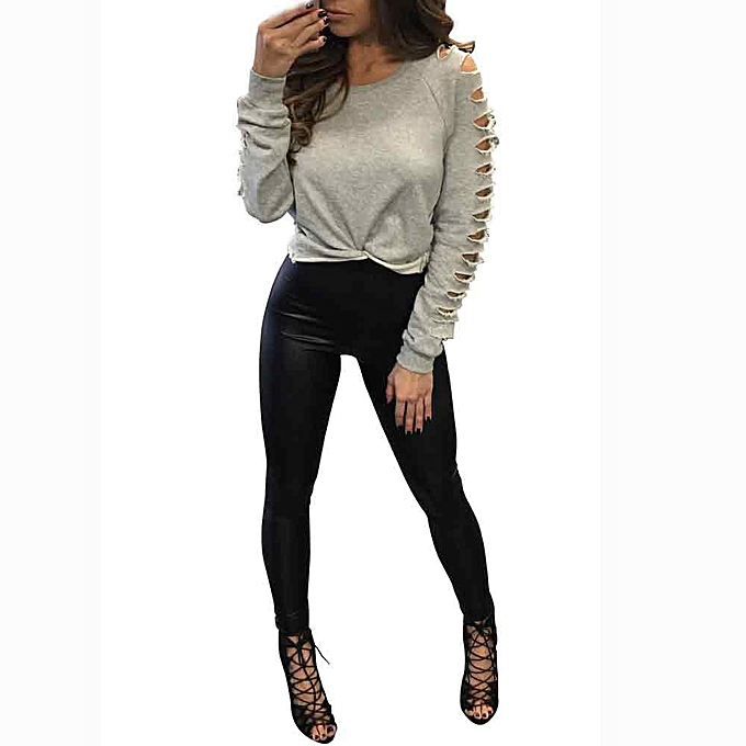 Fashion femmes Long Sleeve Round Collar Hollow Out Casual Tops T-Shirt à prix pas cher
