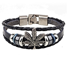 Popular And Elegant Alloy Buckle Maple Leaf Chain Snake Leather Rope  Bracelet-Black 1a55cced7f6f