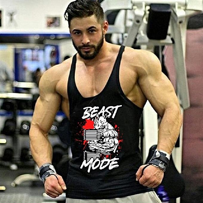 Other Men's New Professional Fitness and Bodybuilding Training Dig Deep H-shaped Vest-noir à prix pas cher