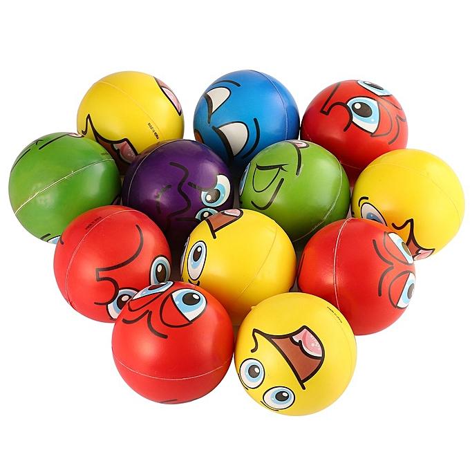 Generic DM 12PCS Facial Expression Stress Relief Sponge Foam Balls Hand Squeeze Toy-6 Couleurs&10cm à prix pas cher