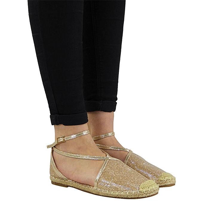 Fashion Hiamok femmes Straw Round Toe Flat Casual Sequin chaussures Buckle Strap Rome Style Sandals à prix pas cher    Jumia Maroc