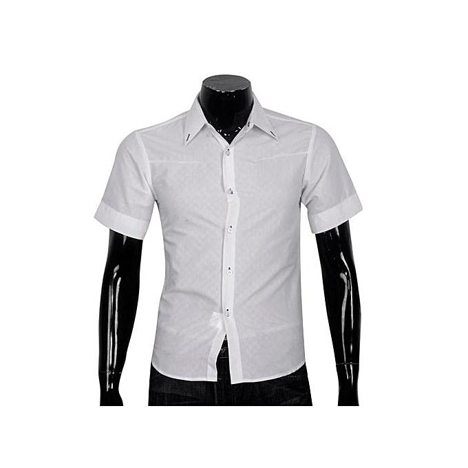 nouveauorldline Obscure Hommes& 039;s Plaid courte-sleeved Shirt Slim blanc XL- blanc XL à prix pas cher