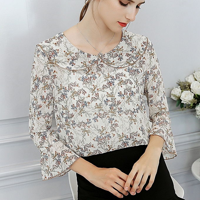 OEM New large Taille was thin spring and summer new fashion wild casual femmes printed slim shirt-beige à prix pas cher