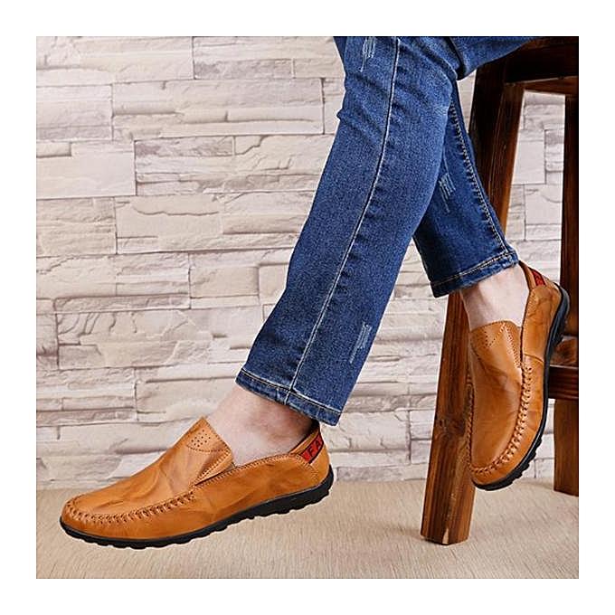 Fashion Fashion Big Size   Genuine Leather Slip Comfortable Slip Leather On Business Casual Flat Loafers Shoes-EU à prix pas cher  | Jumia Maroc 4bea71