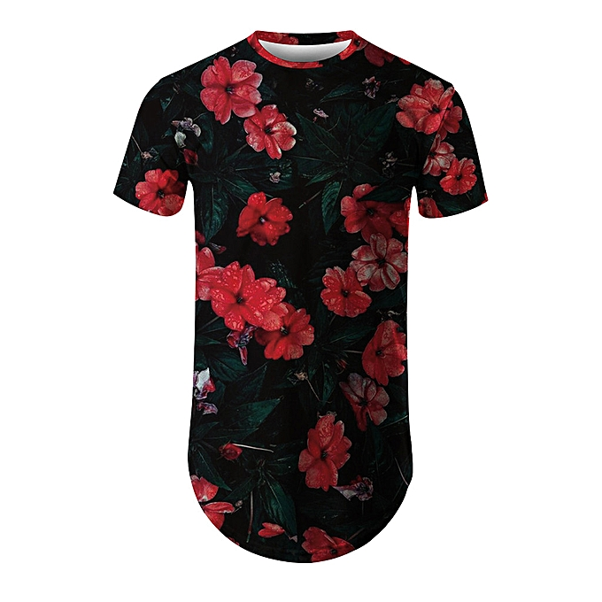 Fashion whiskyky store Men's New Summer T-shirt With Round Neck Short Sleeve Flower 3D Printed Top à prix pas cher
