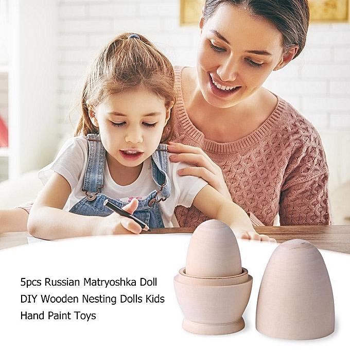 Autre Sunborui 5pcs russe matryoshka poupée bricolage en bois poupées gigognes enfants peinture à la main jouets à prix pas cher