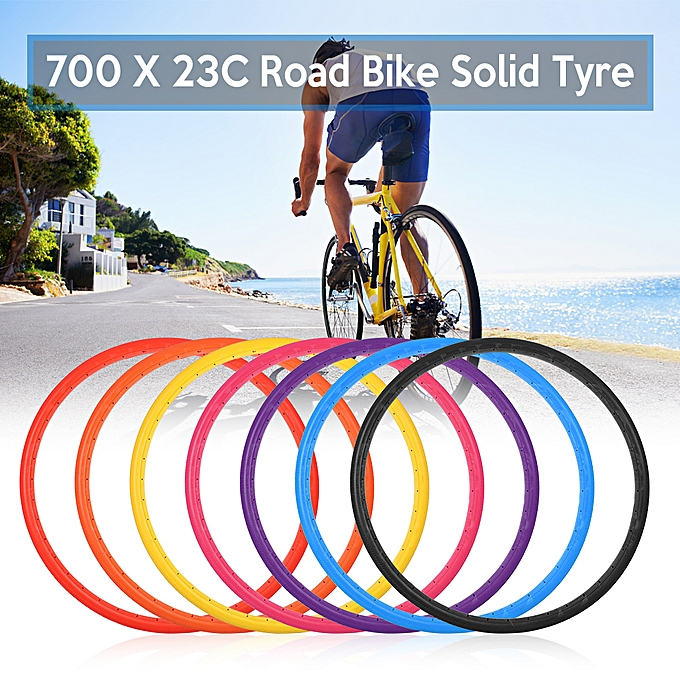 Other Bike Solid Tire 700x23C Road Bike Bicycle Cycling Riding Tubeless Tyre Wheel à prix pas cher
