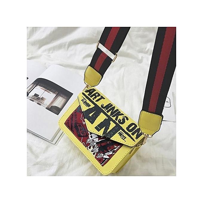 Duoya femmes Letter Handbag Shoulder Bag Messenger Large Tote Leather Ladies Purse  YE- jaune à prix pas cher