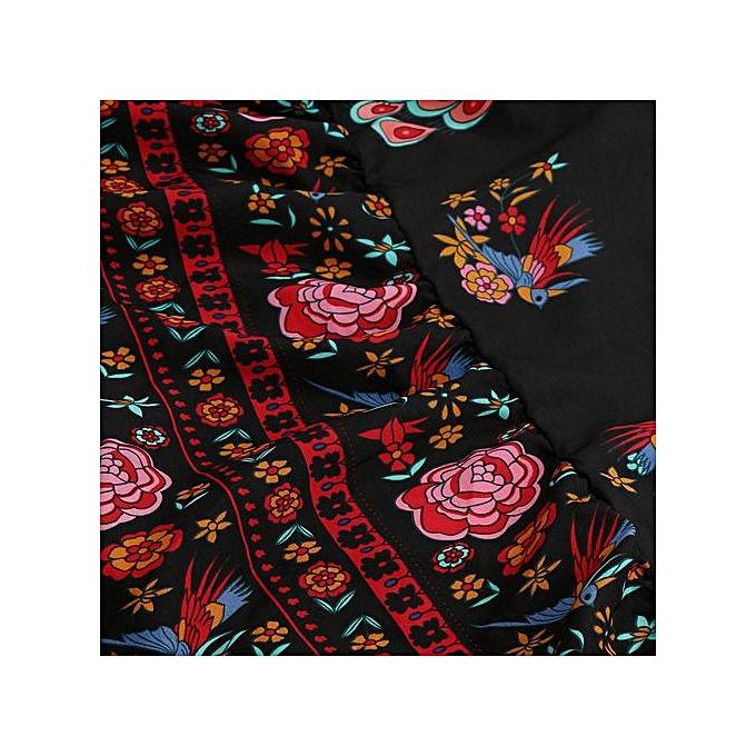 Fashion Xiuxingzi femmes Print Floral Retro Palace V-Neck Evening Party Dress à prix pas cher