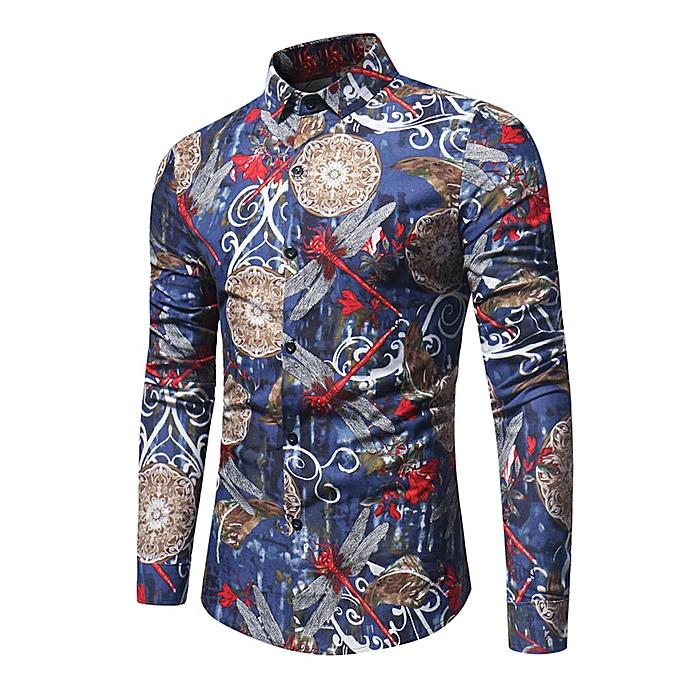 mode mode Personality Hommes& 039;s Décontracté Slim Long-sleeved Printed Shirt Top chemisier  -bleu à prix pas cher