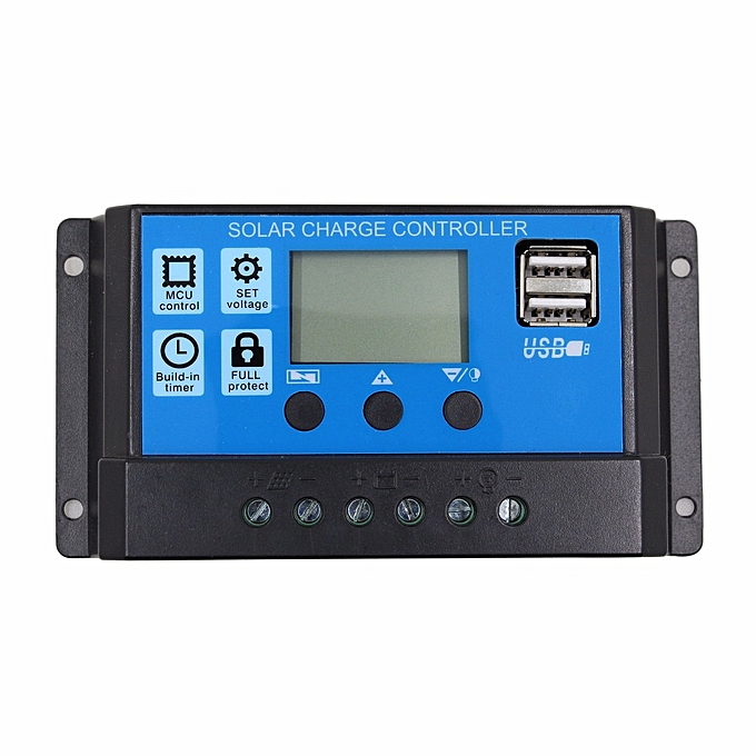Other BMBY-12V 24V Auto work PWM Solar Charge Controller with LCD Dual USB 5V Output Solar Cell Panel Charger Regulato(20A) à prix pas cher