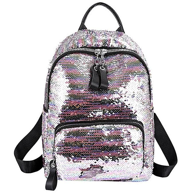 mode femmes PU cuir Panelled Zipper sac à dos  Sequin Hit Couleur School sac sac à dos Student Satchel voyage Shoulder sac YL à prix pas cher