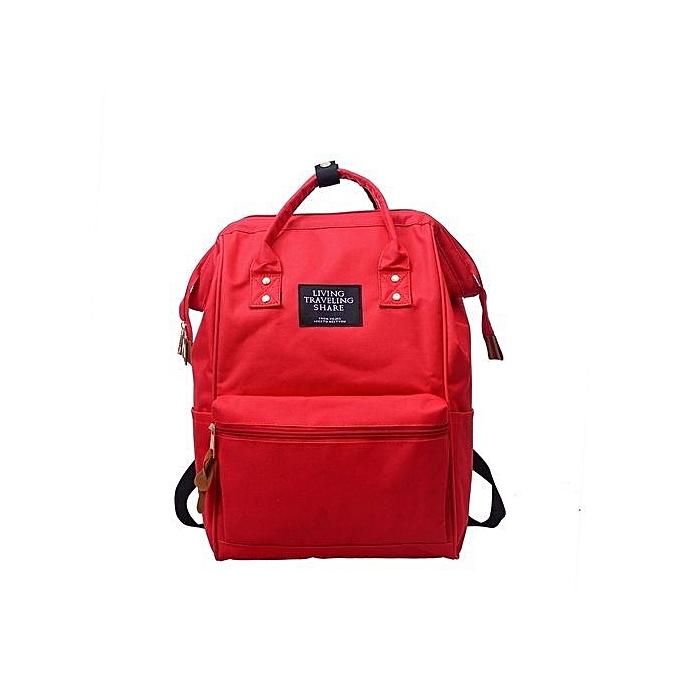 nouveauorldline Unisex Solid sac à dos School voyage sac Double Shoulder sac Zipper sac RD-rouge à prix pas cher