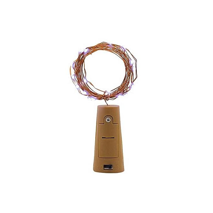 Generic Haojks-9Pcs Cork Shaped LED Night Starry Light Wine Bottle Lamp For Party Decor bleu à prix pas cher