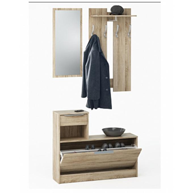 Generic CLOTHHANGE Vestiaire meuble d'entrée + miroir + 1 tiroir 1 abattant (Chêne brossé) à prix pas cher