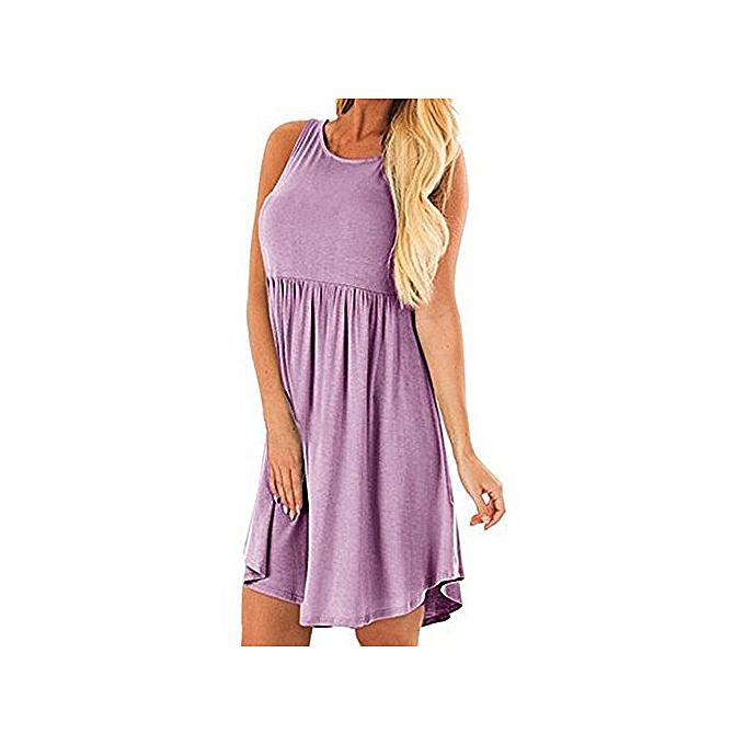 Tauntte femmes Hight Waist Tank Robe SunRobe Sleeveless Loose Décontracté Robe (violet) à prix pas cher