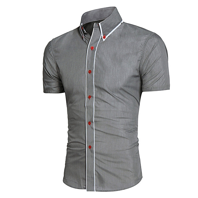 Fashion Men Shirt Fashion Solid Couleur Male Casual Short Sleeve Business Shirt GY L2 à prix pas cher