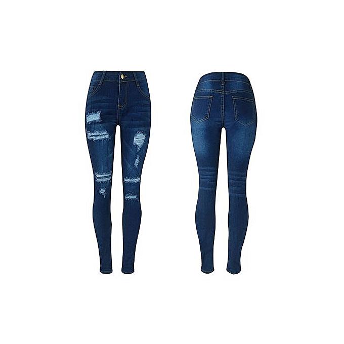 mode Xiuxingzi_femmes Denim Ripped Pencil Pants Stretch Cotton Skinny Slim Trousers XL à prix pas cher