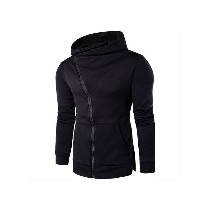 Cuena Men Zipper Hooded Coat Outwear Sweater Casual Shirt T-shirts Hoodie Tops BK XL-noir à prix pas cher