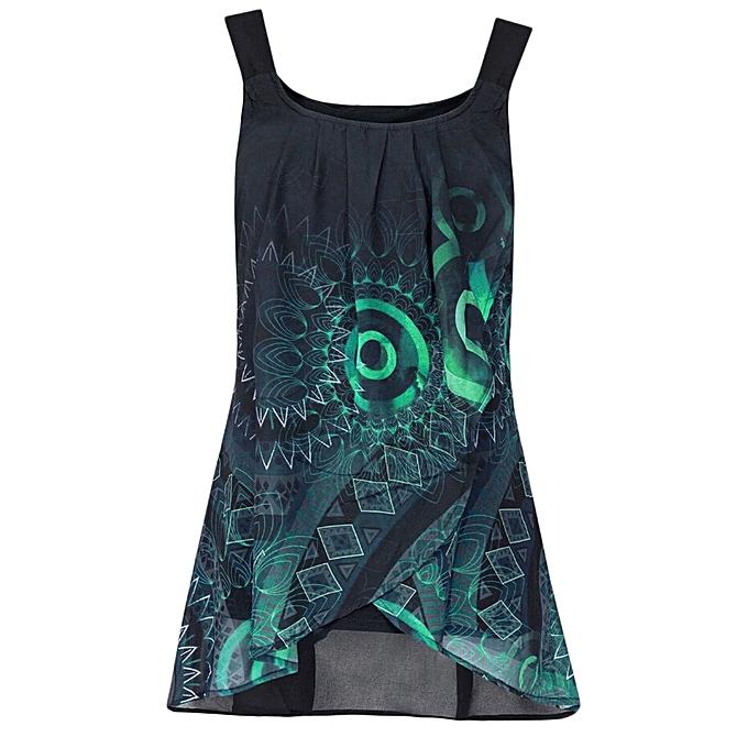 Generic Generic Fashion femmes Sexy Print Shirt Sleeveless O-Neck Vest Tank Tops Blouse Camisole A1 à prix pas cher