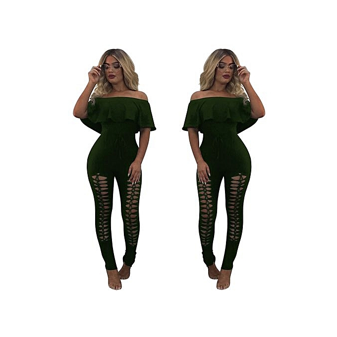 Eissely femmes Off The Shoulder Ruffle Playsuit Bodycon Party  Jumpsuit Trousers AG L-vert à prix pas cher